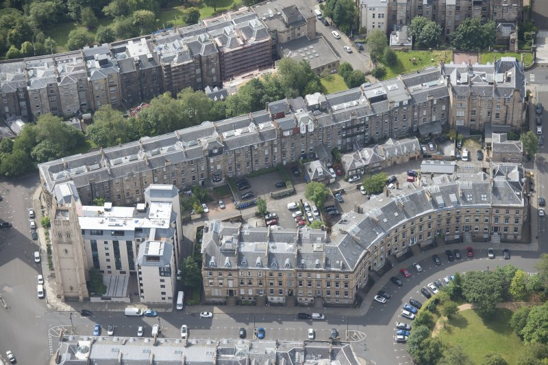 Oblique aerial view of Park Circus, Park Street East and Park Church Tower, looking SSW.