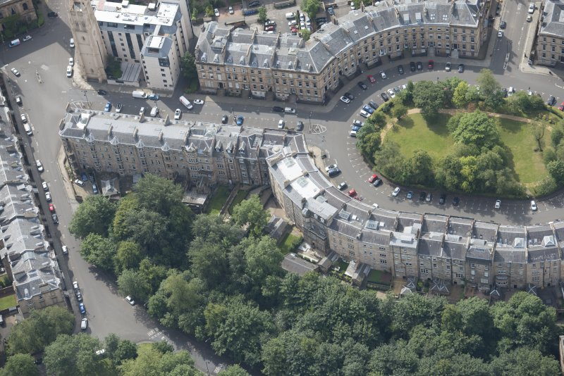 Oblique aerial view of Park Circus, looking SSW.