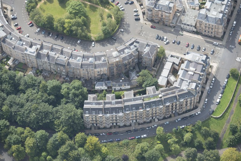 Oblique aerial view of Park Circus, looking S.