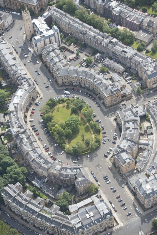 Oblique aerial view of Park Circus, looking SSE.
