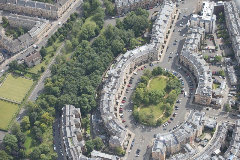 Oblique aerial view of Park Circus, looking ESE.