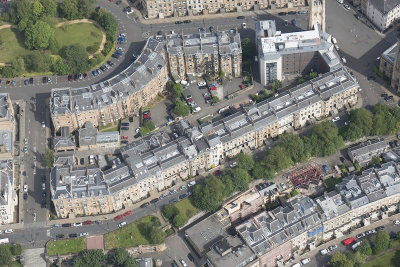 Oblique aerial view of Woodlands Terrace, Park Street East and Claremont Terrace, looking NE.