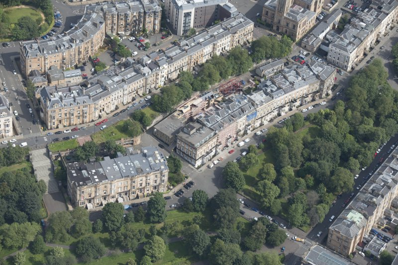 Oblique aerial view of Park Street East, Claremont Terrace, Woodlands Terrace, Park Gardens and Park Gardens Steps, looking NE.