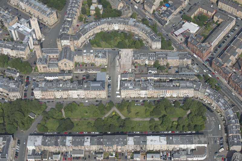 Oblique aerial view of Woodside Terrace and Woodside Place, looking NNW.