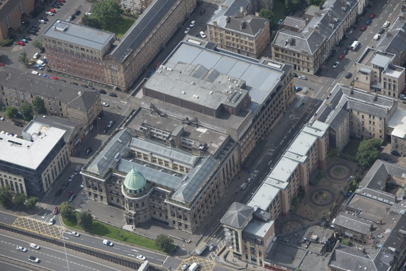 Oblique aerial view of the Mitchell Library, looking WSW.