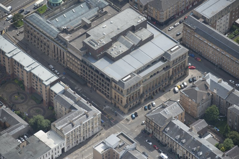 Oblique aerial view of St Andrew's Halls Theatre, looking SE.