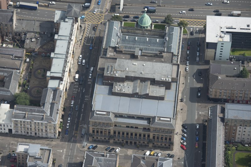 Oblique aerial view of St Andrew's Halls Theatre, looking E.