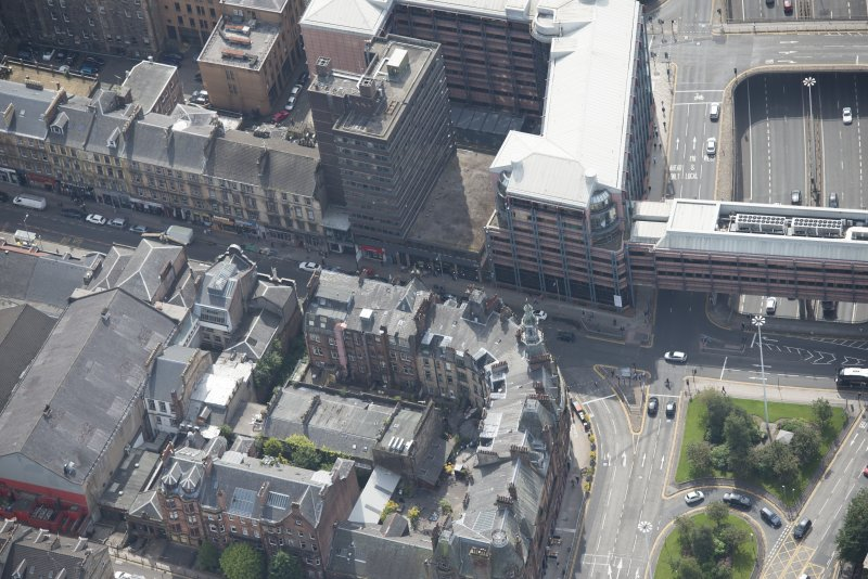 Oblique aerial view of Charing Cross Mansions, looking S.