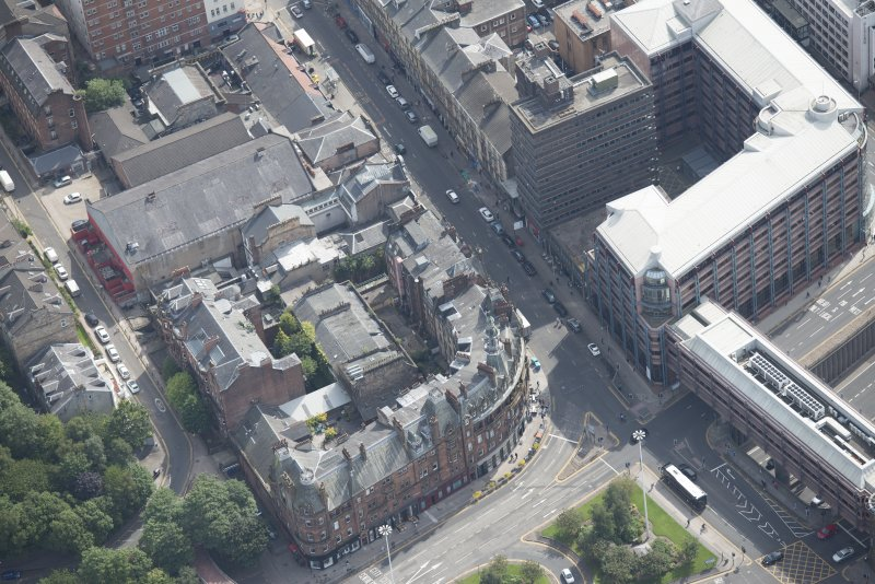 Oblique aerial view of Charing Cross Mansions, looking S.E