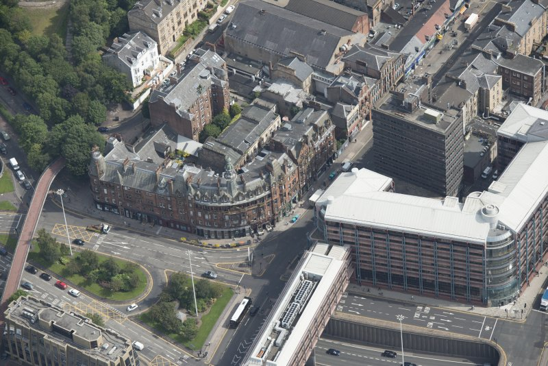 Oblique aerial view of Charing Cross Mansions, looking E.