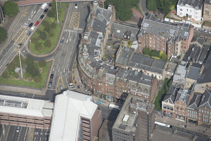 Oblique aerial view of Charing Cross Mansions, looking N.