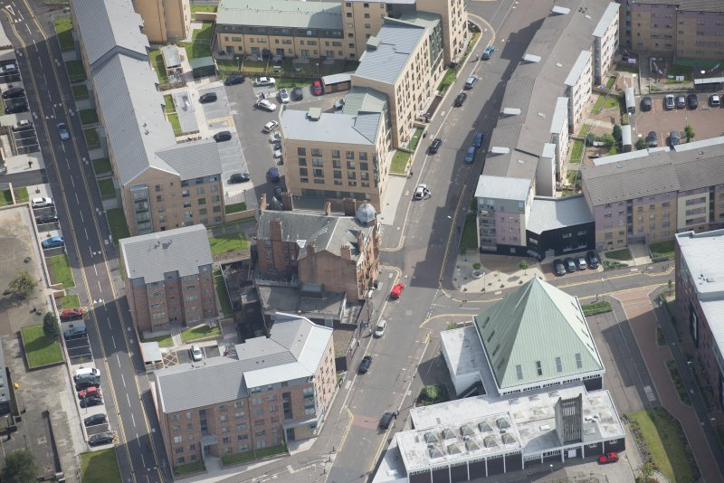 Oblique aerial view of the Savings Bank of Glasgow, looking ESE.