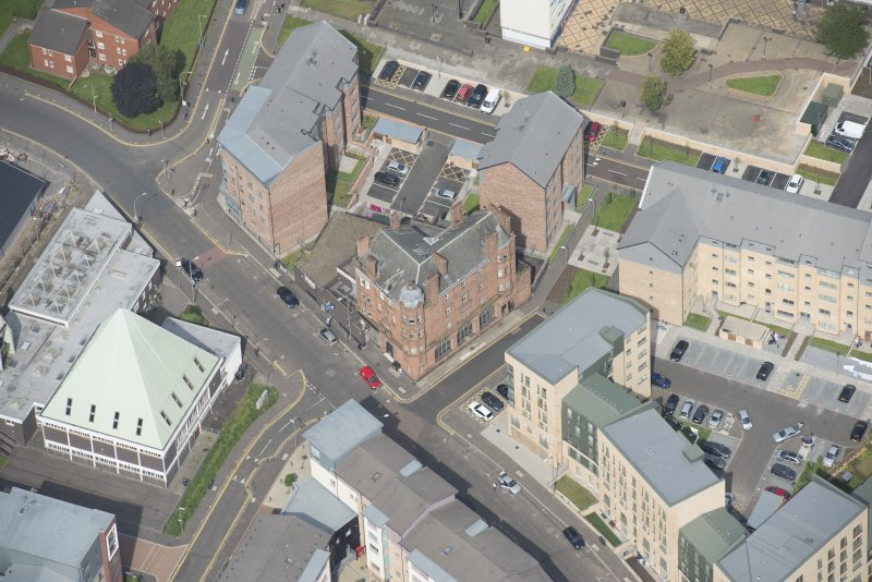 Oblique aerial view of the Savings Bank of Glasgow, looking NNE.