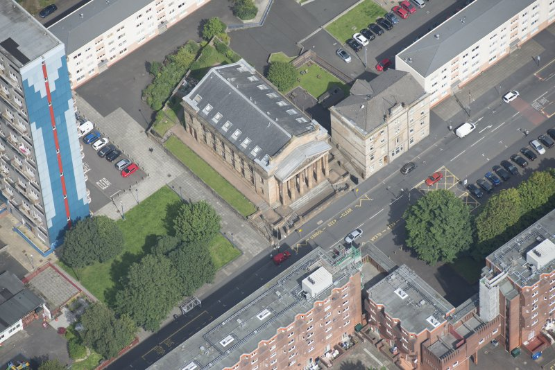Oblique aerial view of the St George's Road Church, looking N.