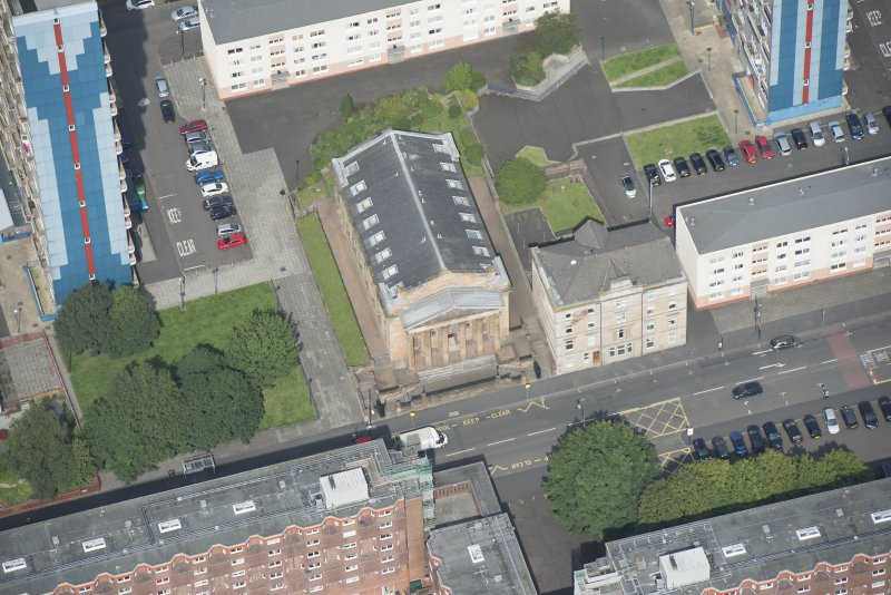 Oblique aerial view of the St George's Road Church, looking NNW.
