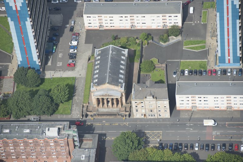 Oblique aerial view of the St George's Road Church, looking NW.