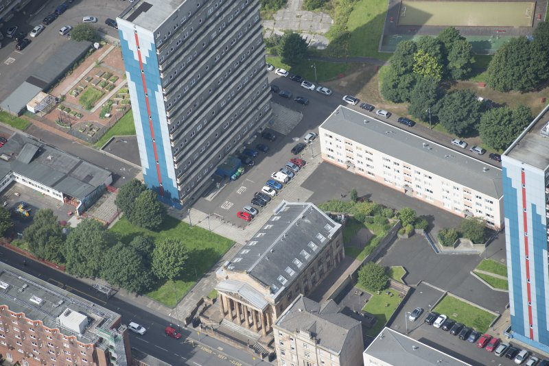 Oblique aerial view of the St George's Road Church, looking WNW.