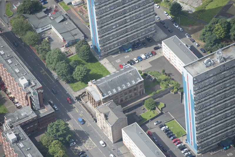 Oblique aerial view of the St George's Road Church, looking W.
