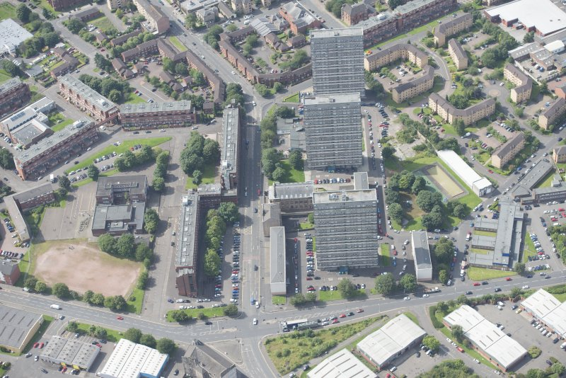 Oblique aerial view of the St George's Road Church, looking SW.