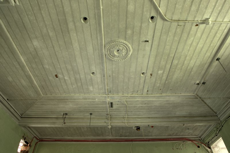 Ground floor, north west room, view ofpanelled ceiling with rose