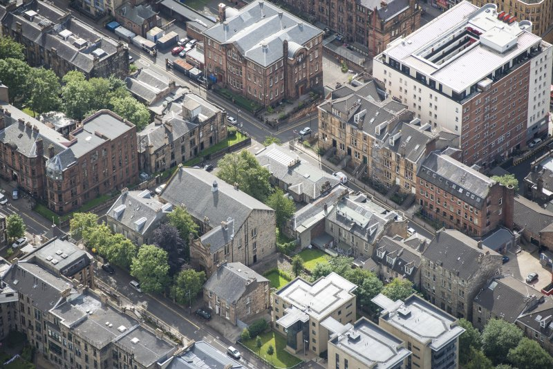 Oblique aerial view of Garnethill Synagogue, looking SE.