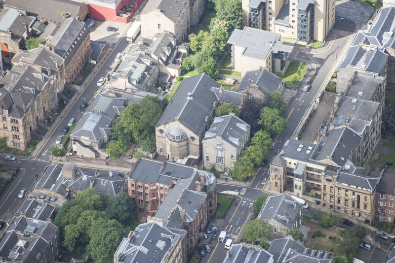 Oblique aerial view of Garnethill Synagogue, looking W.