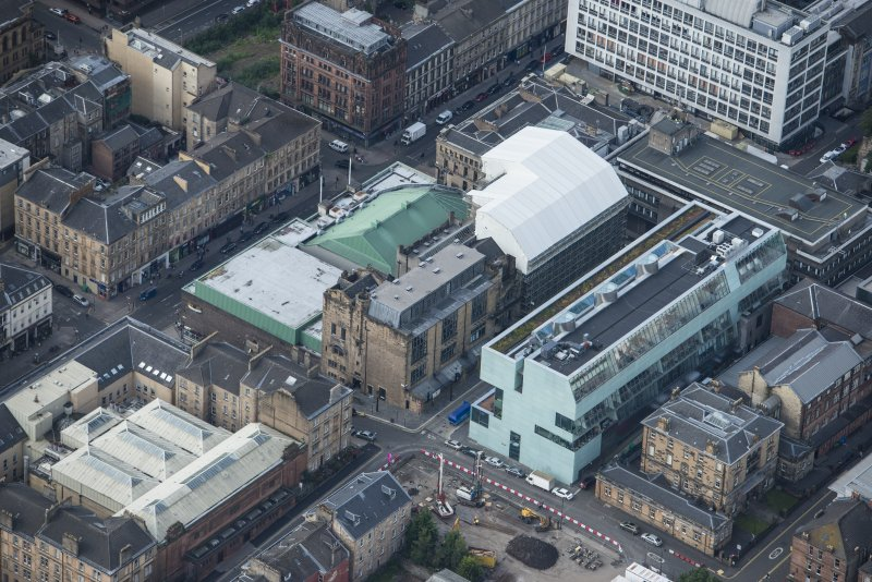 Oblique aerial view of the Glasgow School of Art, looking SW.