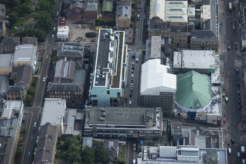 Oblique aerial view of the Glasgow School of Art and Dalhousie Street, looking ESE.