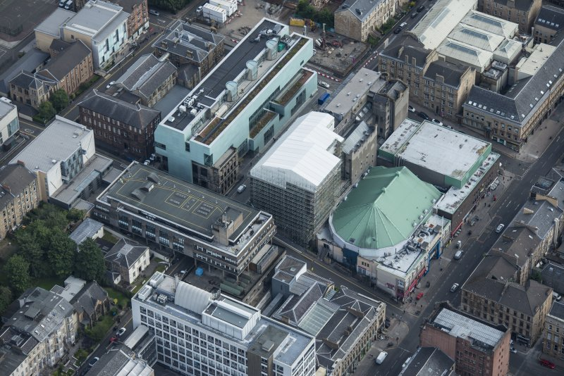 Oblique aerial view of the Glasgow School of Art, looking SE.