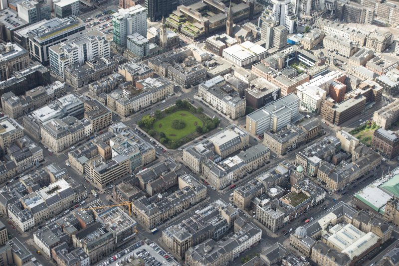 Oblique aerial view of Hellenic House, Blythswood Street Blythswood Square and Willow Tea Rooms, looking SW.