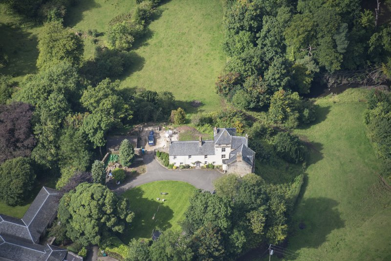 Oblique aerial view of Peel Tower House, looking W.