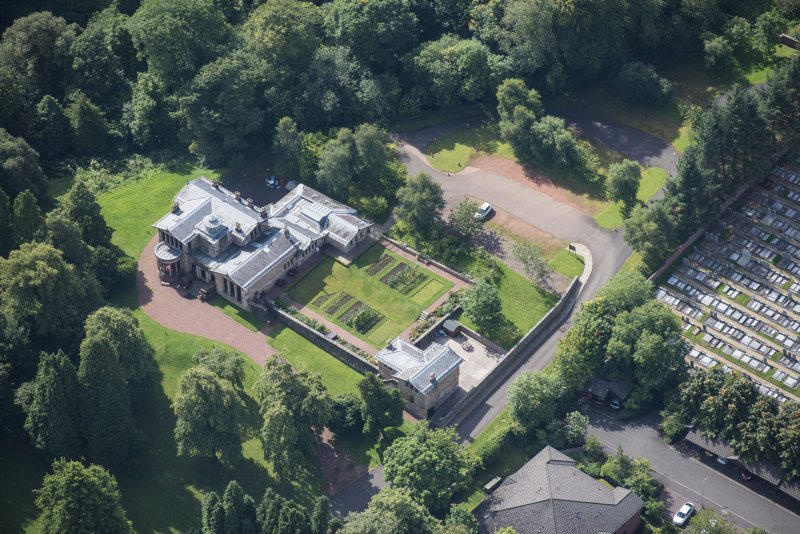 Oblique aerial view of Holmwood House, looking SW.