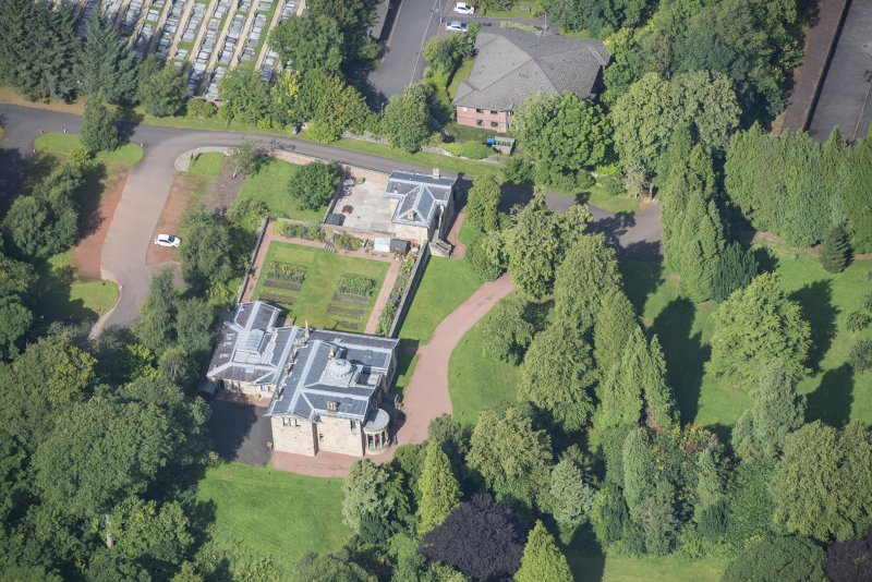 Oblique aerial view of Holmwood House, looking NW.