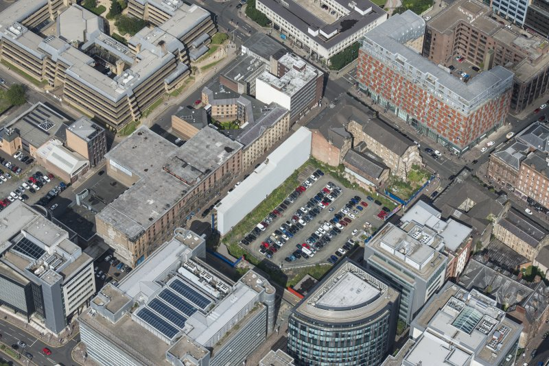 Oblique aerial view of James Watt Street, looking NW.