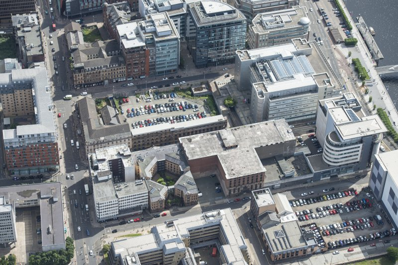 Oblique aerial view of James Watt Street, looking ESE.