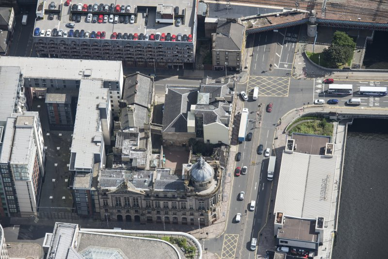 Oblique aerial view of the Clyde Port Authority Building, looking E.