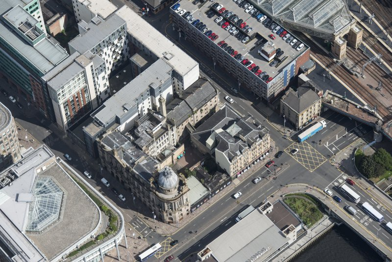 Oblique aerial view of the Clyde Port Authority Building, looking NE.