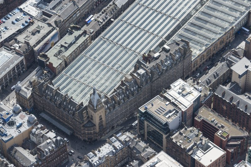 Oblique aerial view of Central Station Hotel, looking SSE.