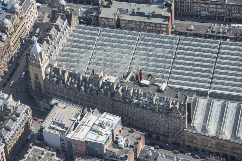 Oblique aerial view of Central Station Hotel, looking E.
