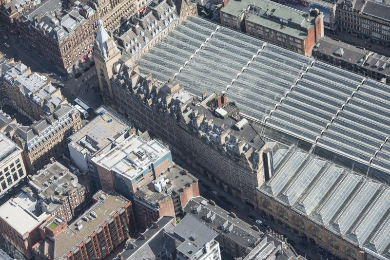 Oblique aerial view of Central Station Hotel and Atlantic Chambers, looking ENE.