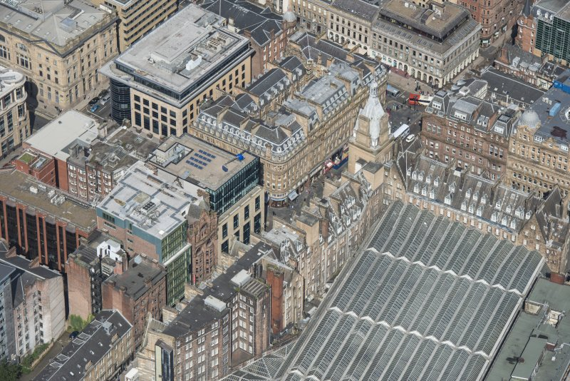 Oblique aerial view of Central Station Hotel and Atlantic Chambers, looking NNW.
