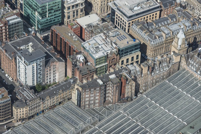Oblique aerial view of Central Station Hotel, looking NW.
