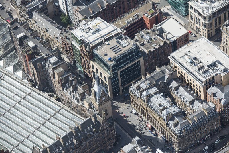 Oblique aerial view of Central Station Hotel and Atlantic Chambers, looking SE.