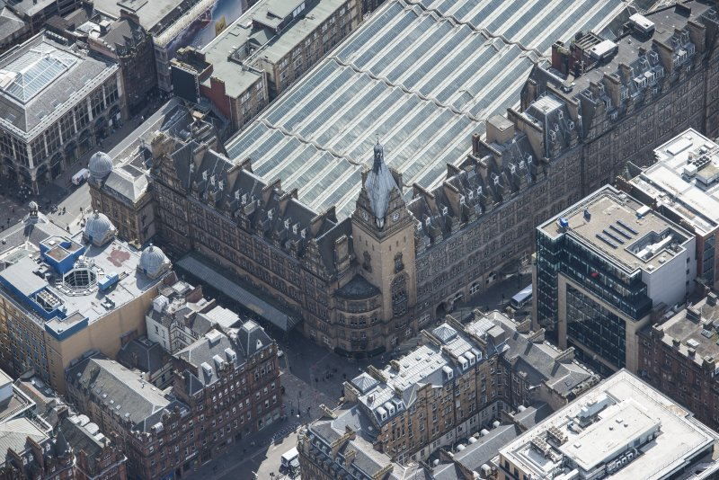 Oblique aerial view of Central Station Hotel, looking SE.
