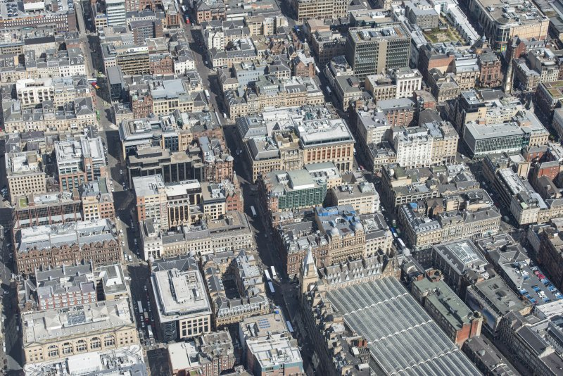 General oblique aerial view of central Glasgow centred on Hope  Street, Renfield Street and Wellington Street , looking NE.