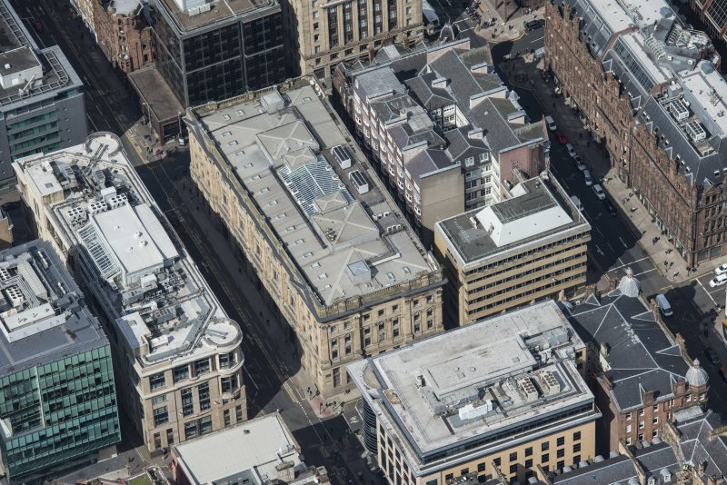 Oblique aerial view of Waterloo Street and Bothwell Street, looking NW.