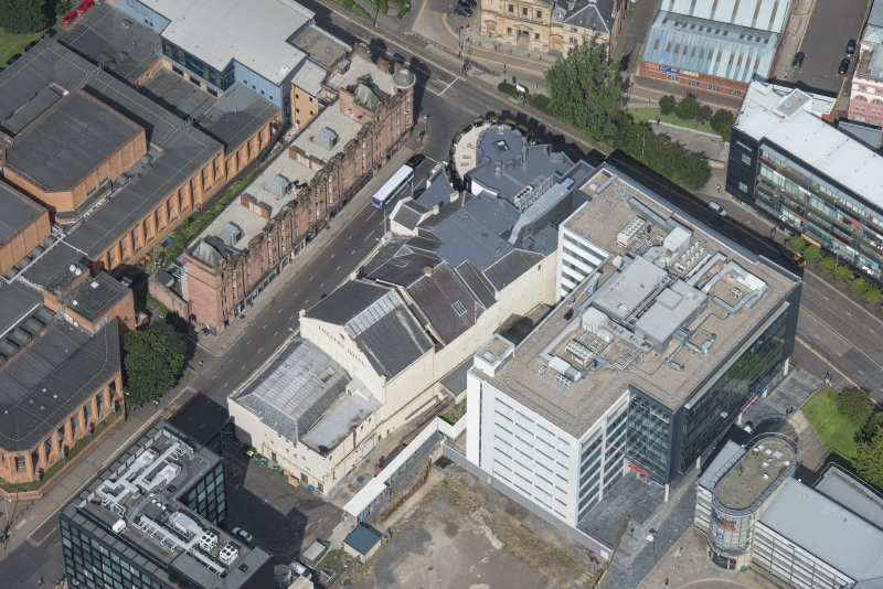 Oblique aerial view of the Theatre Royal, looking NW.