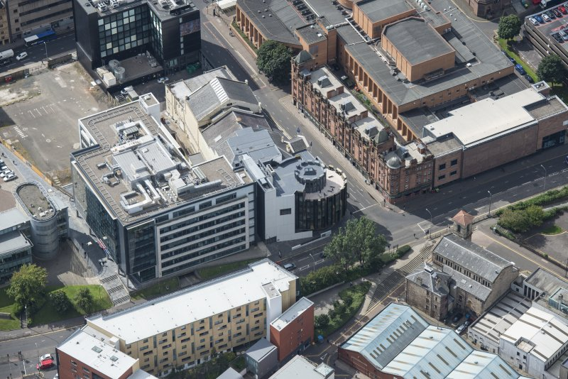 Oblique aerial view of the Theatre Royal, looking SSW.