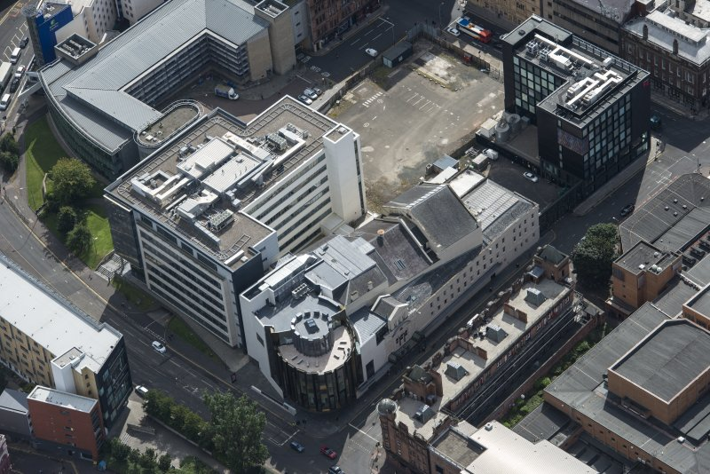 Oblique aerial view of the Theatre Royal, looking SSE.
