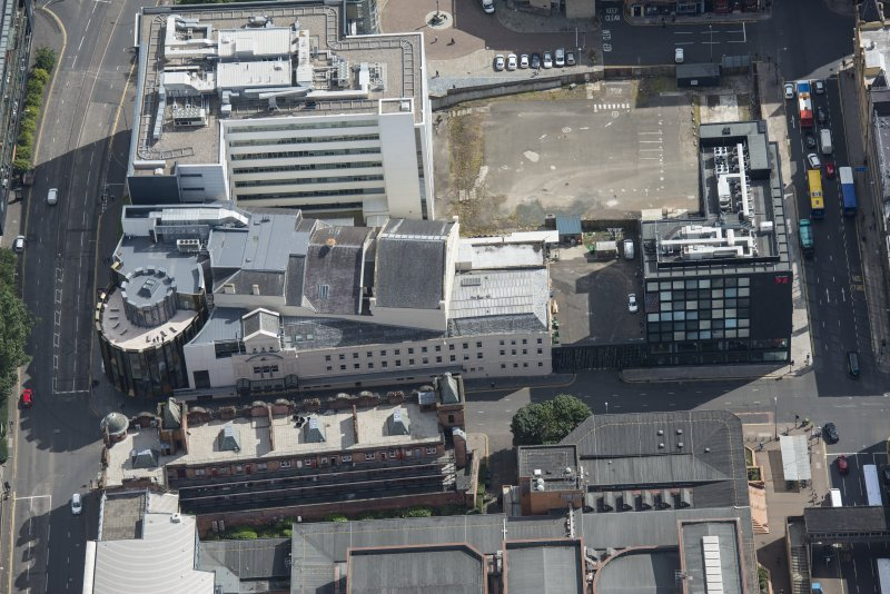 Oblique aerial view of the Theatre Royal, looking ESE.